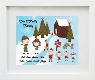 Personalised Elf Family Christmas Print